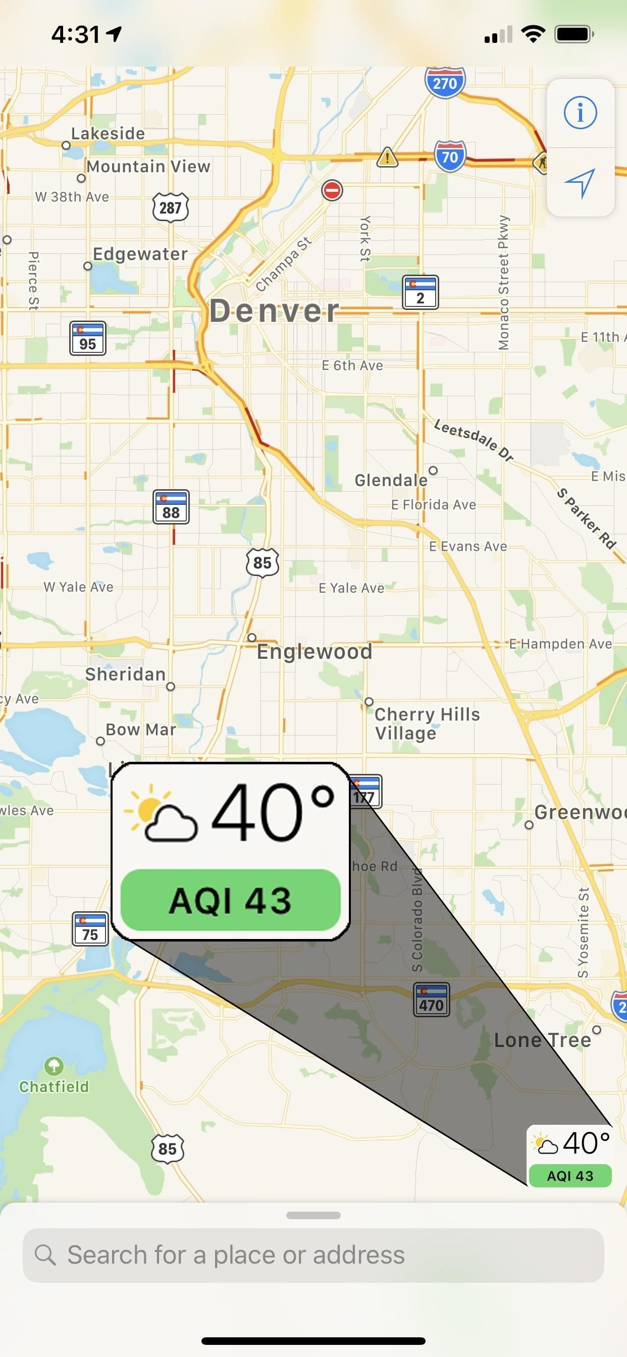 See the air quality index score in Apple Maps. This is a