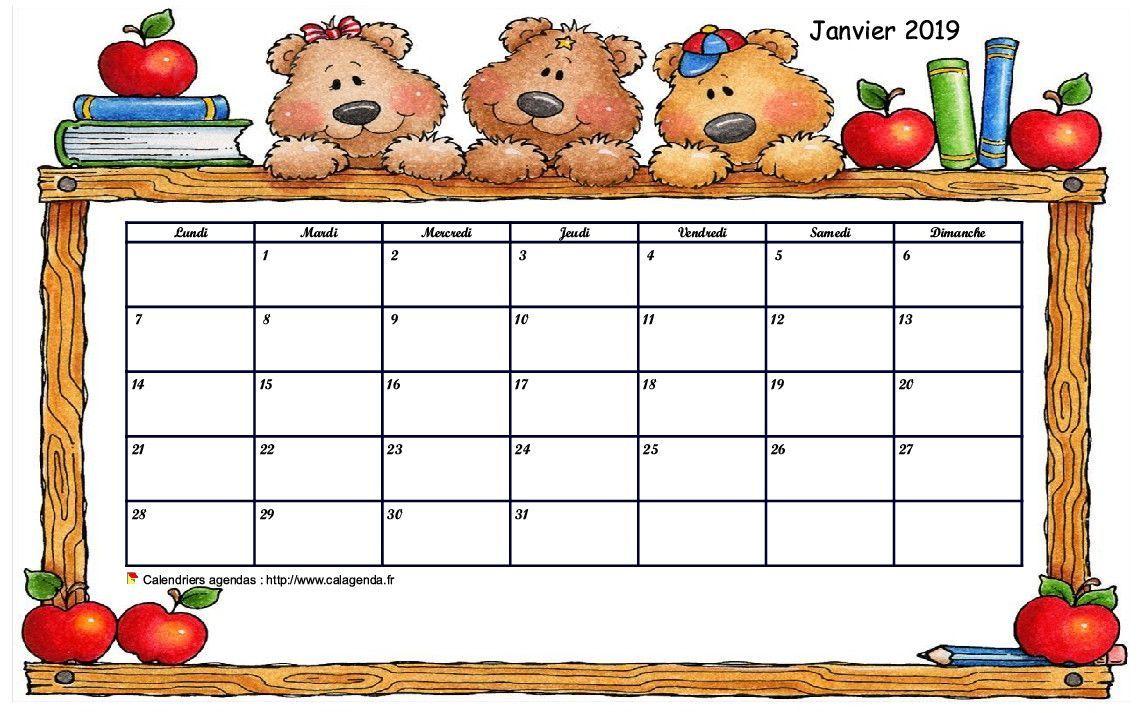 Calendrier Mensuel 2019 Et 2022 à Imprimer Destiné aux écoles maternelles, ce calendrier mensuel permet d