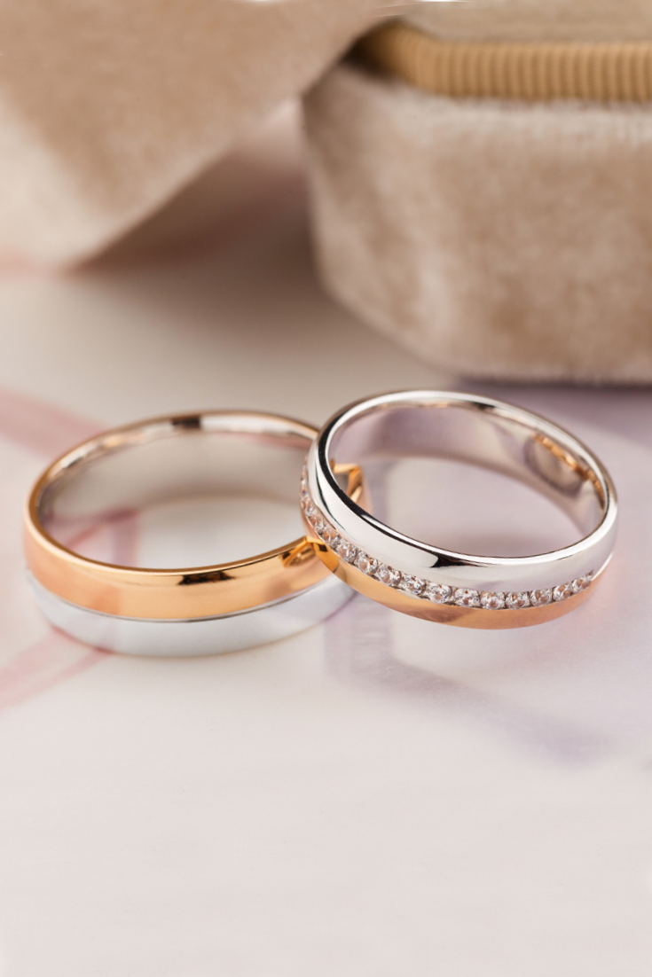 Gold Wedding Bands With Diamonds Two Tone Wedding Bands Etsy Rose Gold Halo Engagement Ring Couple Wedding Rings Wedding Ring Sets