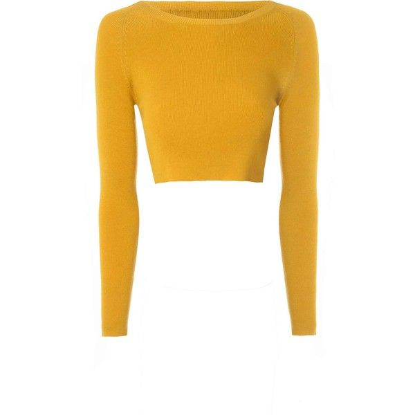 505e1a9478b92e Mustard Cropped Knit Top ($35) ❤ liked on Polyvore featuring tops, yellow, mustard  yellow top, white long sleeve top, crop top, yellow top and white knit ...