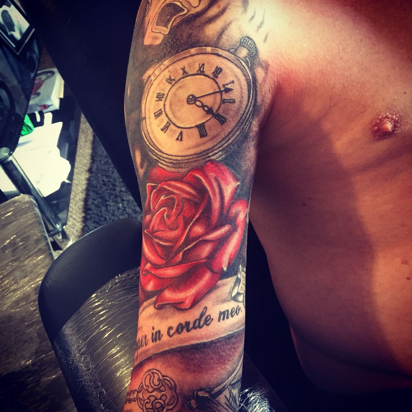 Clock forearm black rose sleeve tattoo - Tribal Cover Up Half Sleeve Roses Clock Tattoo