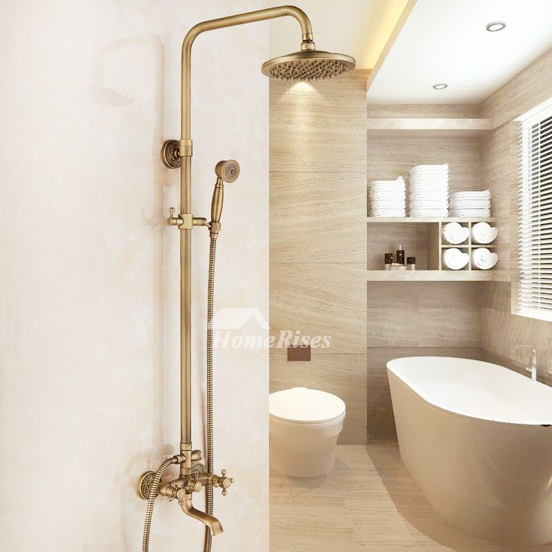 Shower Faucet Types Brushed Gold Carved Single Handle Bathroom With Images Shower Faucet Faucet Elegant Bathroom