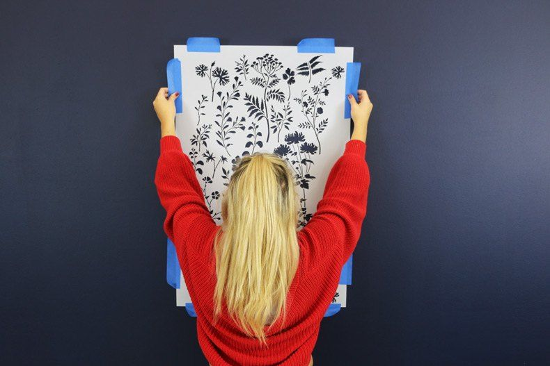This Stenciled Accent Wall Is Identical To Trendy Fl Wallpaper That Being Sold On Your Favorite Home Decor Websites Like Etsy Houzz And Much More