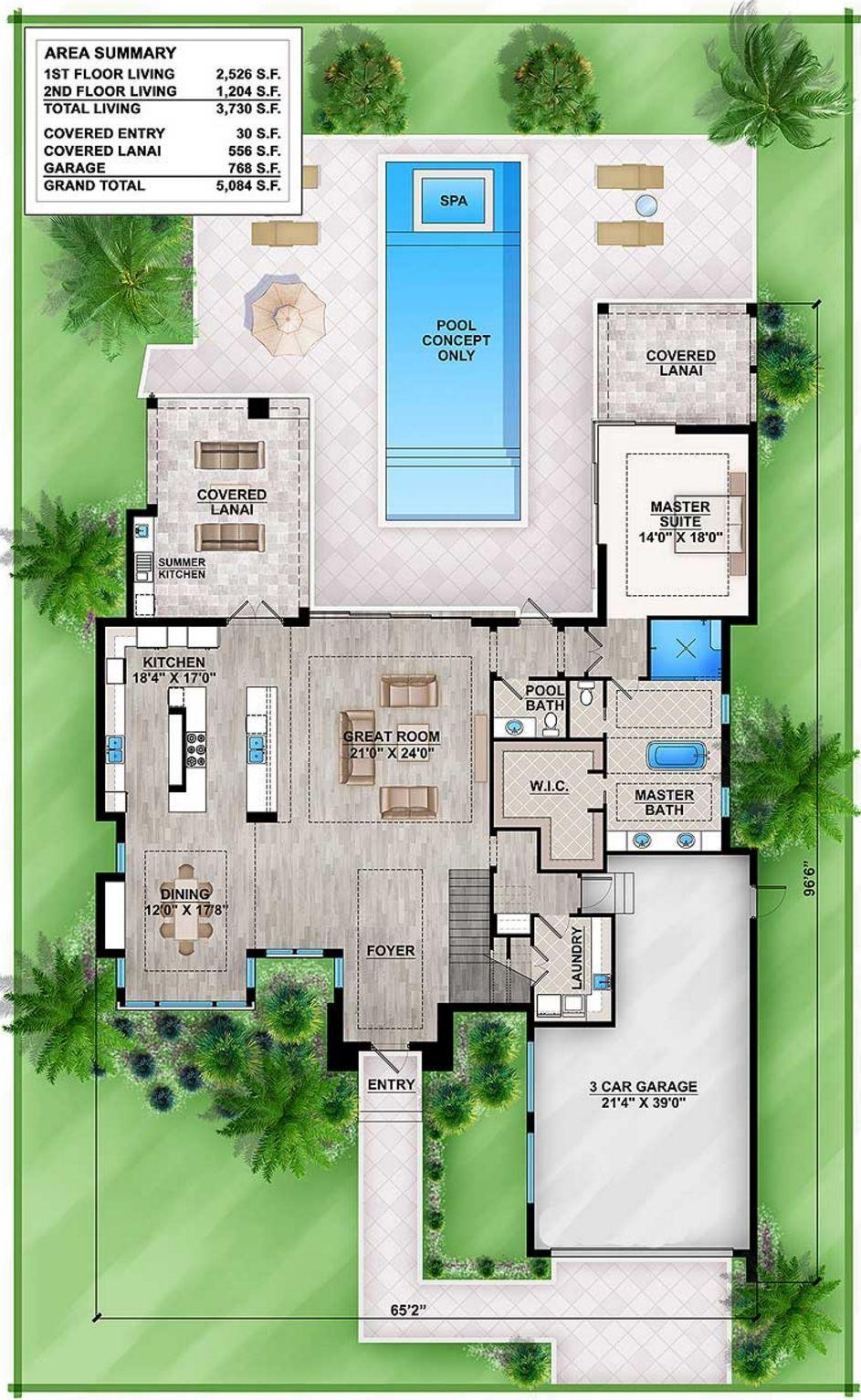 Plano de casa moderna de 350 metros cuadrados for Diseno de piscinas para casas de campo