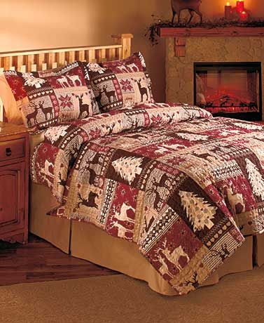 3-PIECE CHRISTMAS LODGE HOLIDAY QUILT SET - Comes in Sizes Full ... : christmas quilt set queen - Adamdwight.com
