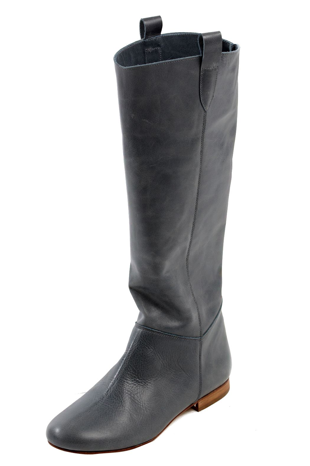 Flat Leather Knee Boots  3fd6656bcd84