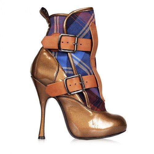 Vivienne Westwood Skyscraper Pirate Heels Bronze/MacCambridge Tartan | GarmentQuarter