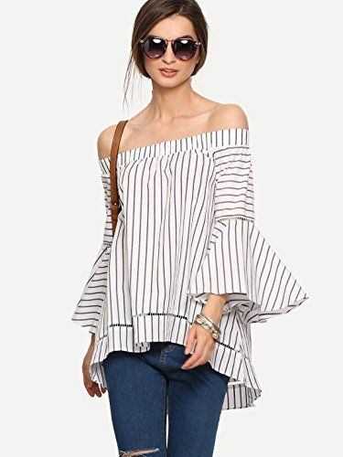 75a6c35fdad94 Off The Shoulder Bell Sleeve Striped Blouse at Amazon Women s Clothing  store