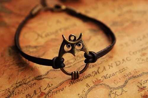 leather owl bracelet