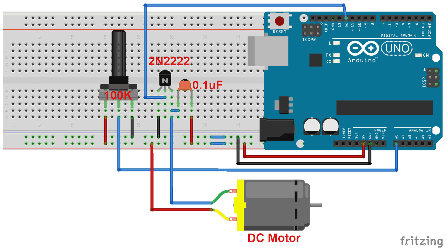 Dc Motor Speed Control Using Arduino And Potentiometer Circuit Diagram Arduino Electronic Workbench