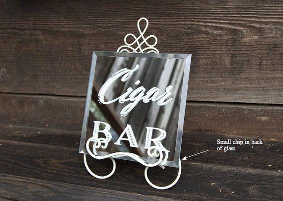 Cigar bar 8 x 8 beveled edge mirror with tiny by BeeCuriousDesigns
