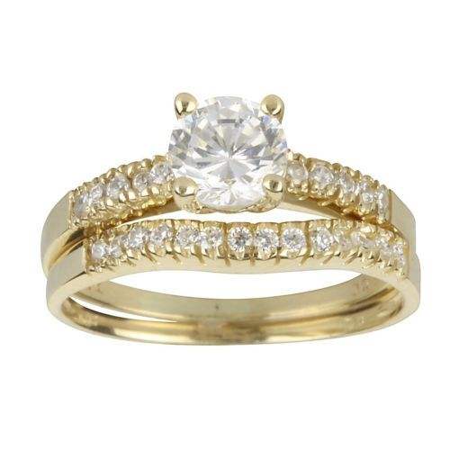 10k Yellow Gold Cz Bridal Ring Set Cubic Zirconia Bridal Ring Set Ring Sets Rings