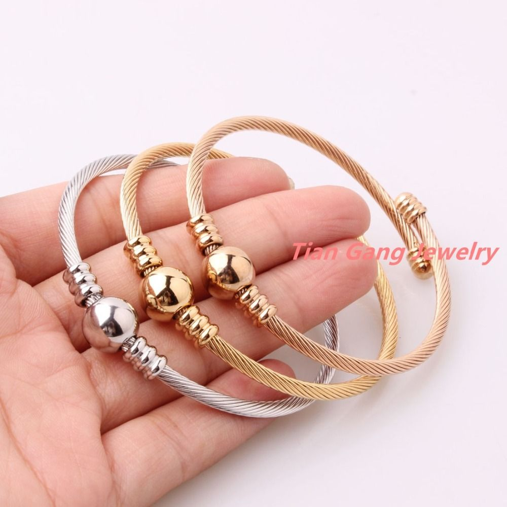 cc6b281d07c ... Cuff Bracelets by Michelle Martin. 3pcs/Set Delicate Jewelry 316L Stainless  Steel Silver/Gold/Rose Gold Twisted Cable