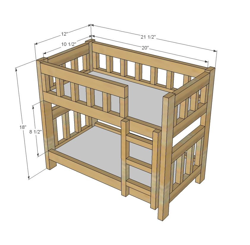 Ana white build a camp style bunk beds for american girl for Kids bed design