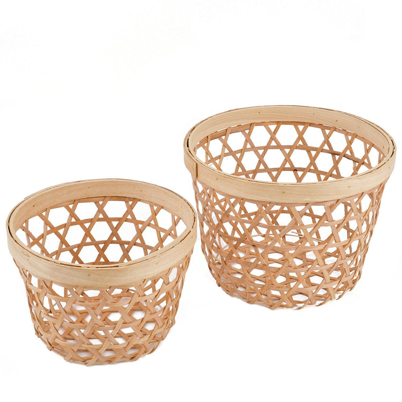 Korb 2er Set Rund Konisch Bambus Design 17 24cm Natur Asia
