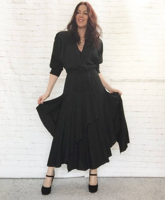 e64ab71485f Iconic 90s Layered Goth Wiccan Black Festival Dress Batwing Slit Ruffled  Surplice