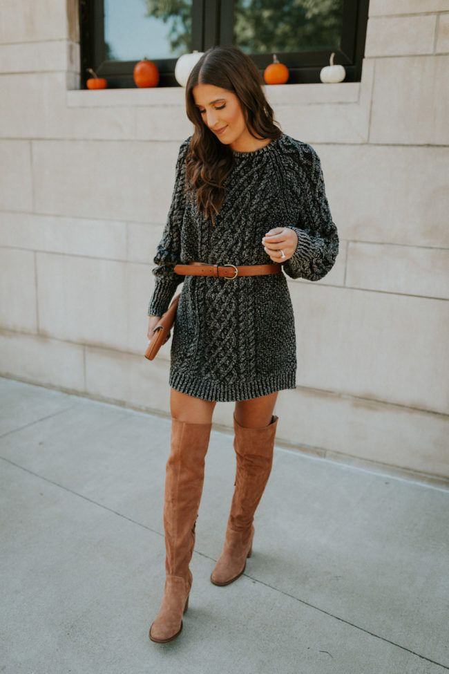 Cable Knit Sweater Dress | A Southern Drawl #sweaterdressoutfit