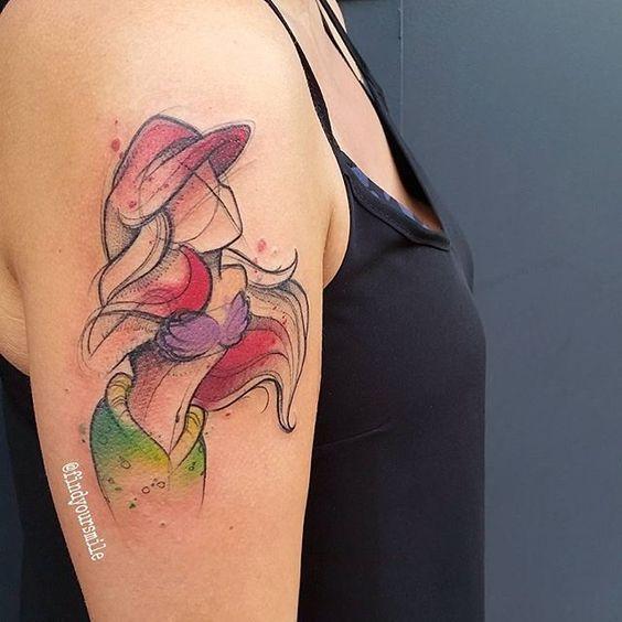 Ariel Little Mermaid Tattoo Watercolor Mermaid Tattoos Disney Tattoos Tattoos