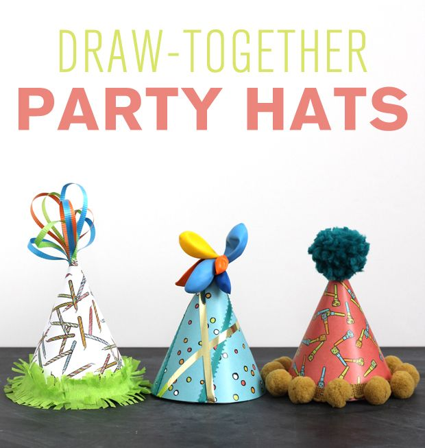 Embellishing party hats! | Post by Krista of Lazy Saturdays for Caravan Shoppe!