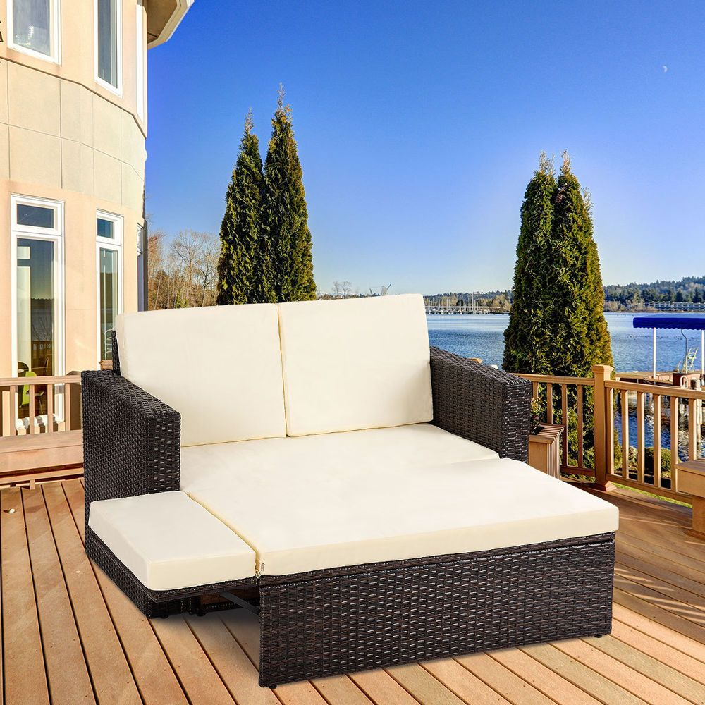 Pcs patio rattan loveseat sofa ottoman daybed garden furniture set