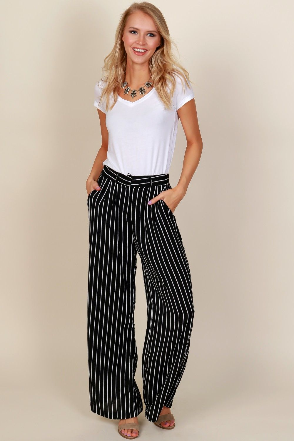 d0dc17acadb Pin Me Down Striped Pants Black White in 2019