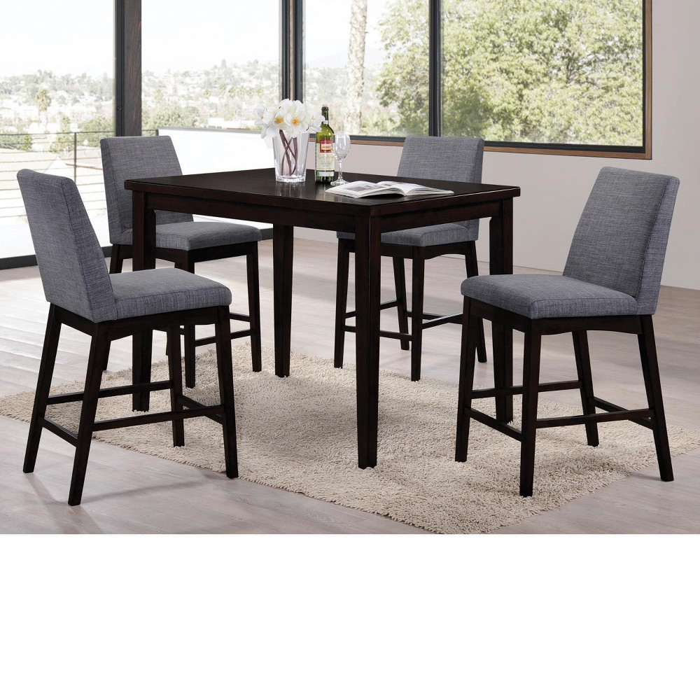 Domum 5pc Dining Set Black Gray Home Source Industries Dining Table In Kitchen Pub Style Table Counter Height Dining Room Tables