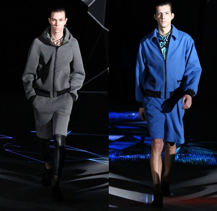 ATSUSHI NAKASHIMA 2014-2015 Fall Autumn Winter Mens Runway Looks - Mercedes-Benz Fashion Week Tokyo Japan Catwalk Fashion Show - Denim Jeans Skinny Shorts Over Leggings Shorts Geometric Outerwear Coat Topcoat Overcoat Necklace Prismatic Triangles Sweater Jumper Bomber Jacket Leggings Futuristic Blazer Tuxedo Jacket Cocktail Jacket Parka Leather Red