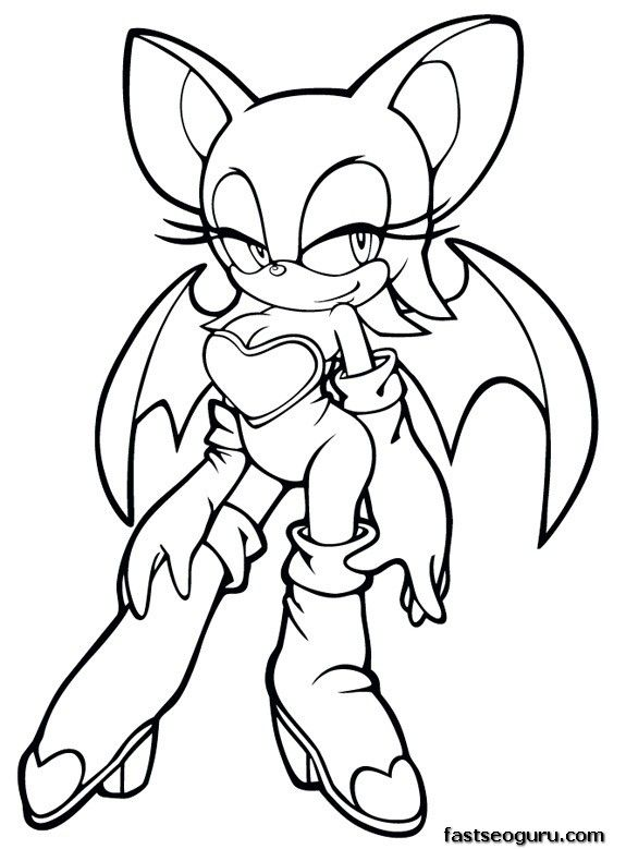 Printable Sonic The Hedgehog Rouge Coloring Pages For Girls 575x779 Pixels