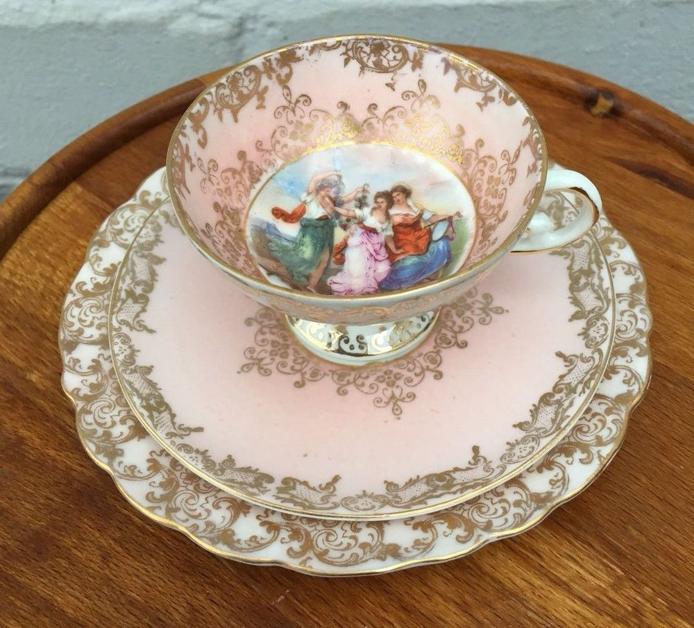 Antique japanese tea table  Antique Limoges Bone China Handpainted Pink u Gilt Trio Cabinet Cup