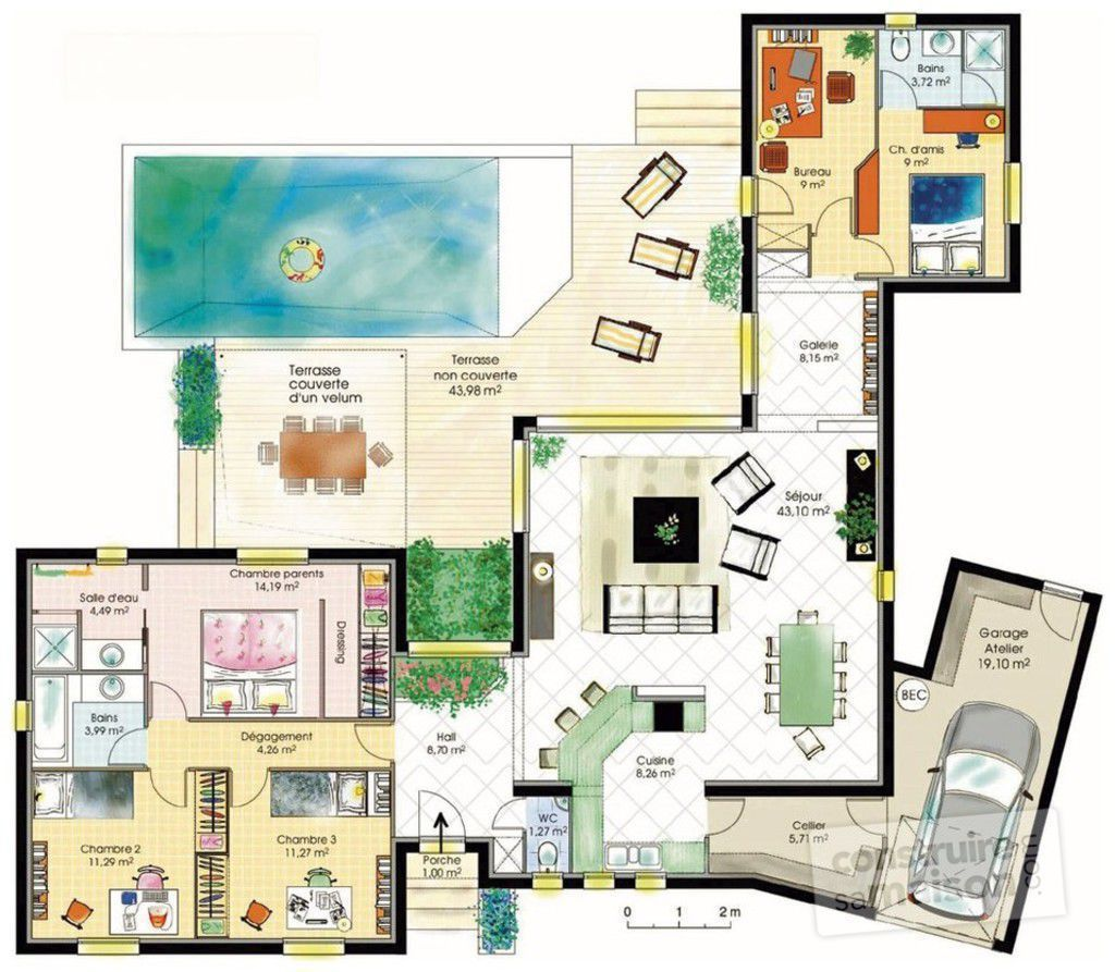 plan maison 9 chambres