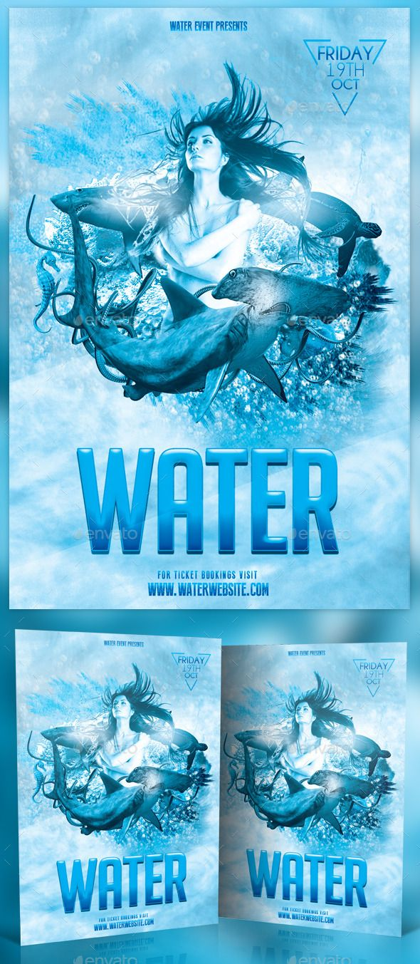 Water Photo Flyer Print Templates Flyers Events To Help Discover This Aquarium Blue Bright Bubbles Event Psd Template