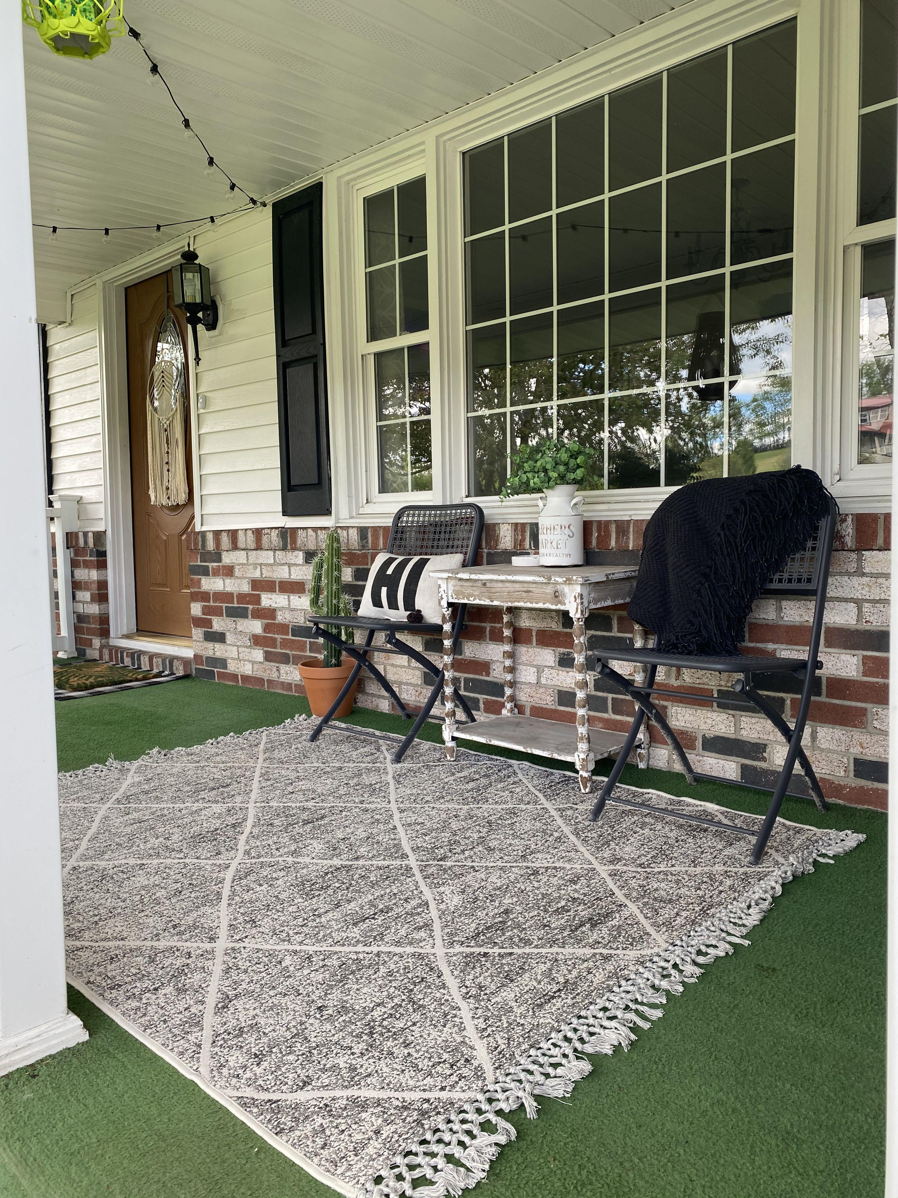 green carpet front porch