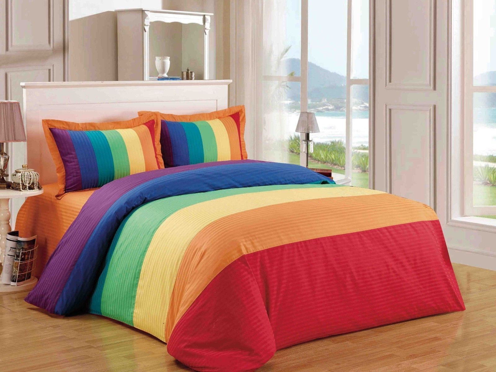5 Pc Queen Size Rainbow Comforter Duvet Cover shrink