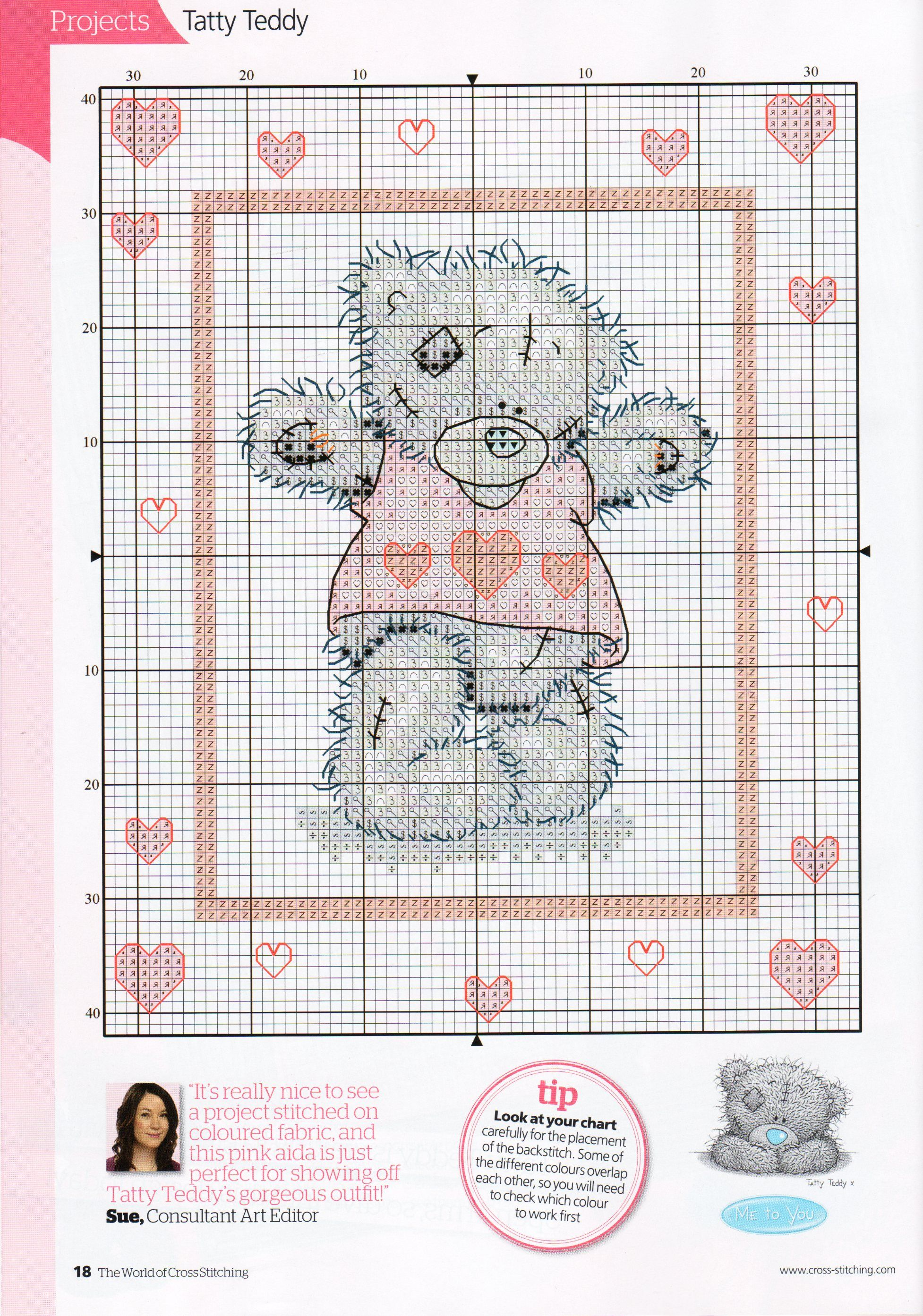 A heart full of love tatty teddy from the world of cross stitching