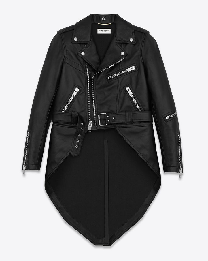 c6211bff44 Saint Laurent — Motorcycle Jacket with Tails in Black Leather | 1 ...