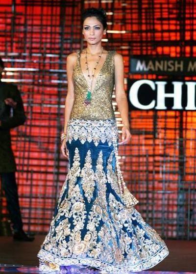 Manish Malhotra fusion lehenga, bridal dress for an Indian wedding, wedding reception