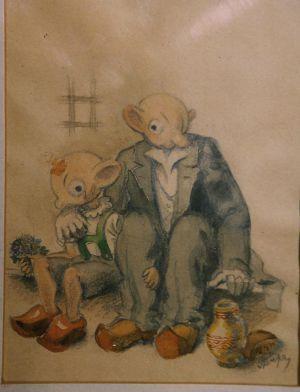 Kresba Spejbla a Hurvínka z doby, kdy byl Skupa během 2. světové války vězněn nacisty v Drážďanech-Foto: Archiv Pavla Skupy