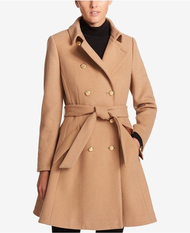 DKNY Double-Breasted Fit   Flare Peacoat  c4137cde6
