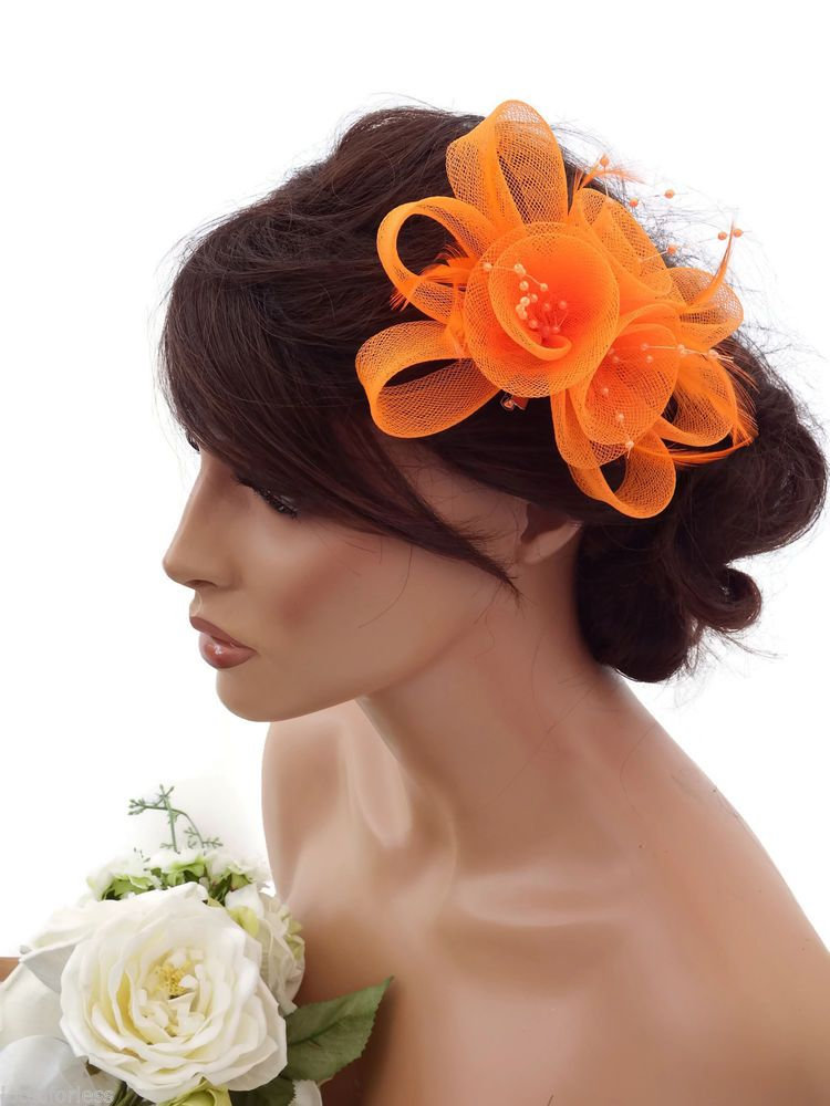 Elegant Orange Flower Bow Mesh Net Pearl Hair Grip Fascinator Feathers Races 1006b502e70