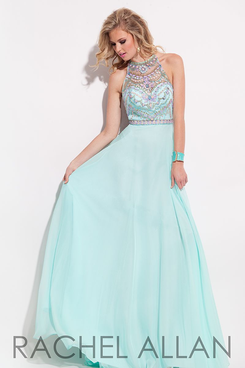 flowy chiffon aline gown with beaded top and sheer beaded