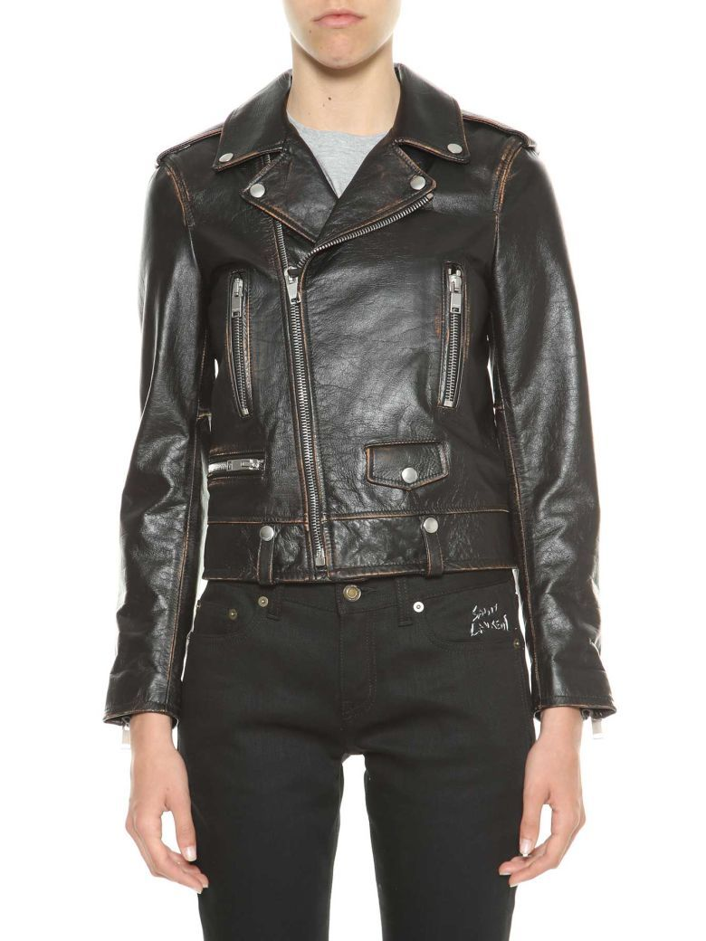 422b0c2f4d95 SAINT LAURENT Saint Laurent Leather Biker Jacket With Print At Back.   saintlaurent  cloth