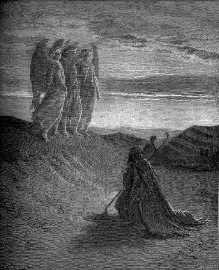 Gustave Dore Abraham Entertains Three Strangers From The Dore