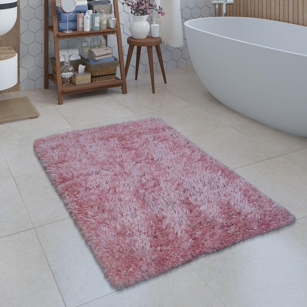 Badezimmer Teppich Shaggy Einfarbig Rosa Badematte Badematten