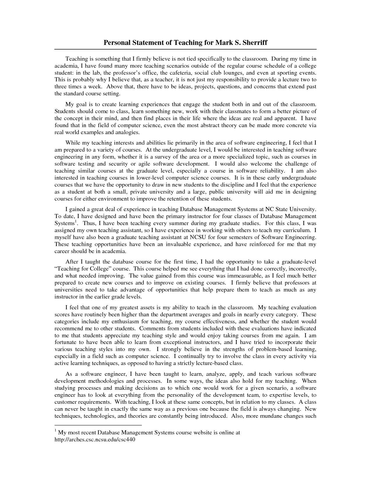 Sample Personal Statement For College Example Teaching Art Teacher And Design