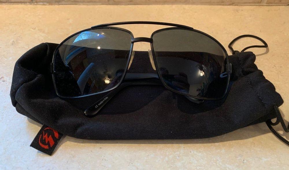 c88c99fb887f2 eBay  Sponsored Vintage Electric Black Aviator OHM Sunglasses (Made in  Italy) w  Soft Case