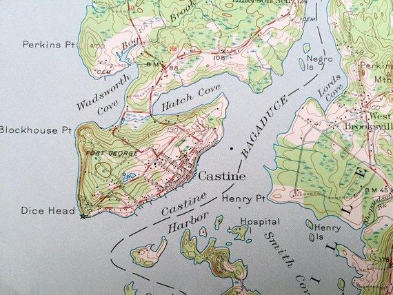 Antique Penobscot Bay, Maine 1941 US Geological Survey ... on arlington maine map, katahdin maine map, fairfield maine on map, swan's island maine map, bangor maine map, jonesport maine map, maine maine map, wilmington maine map, maine hardiness zone map, camden maine map, belfast maine map, maine blueberry map, warren maine map, brewer lake maine map, ogunquit maine map, dedham maine map, dixfield maine map, yarmouth maine map, cape jellison maine map, bath maine map,