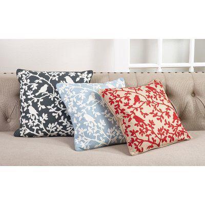 Eden Bird Branch Embroidered 100 Cotton Throw Pillow Pillows Throw Pillows Multi Colored Pillows