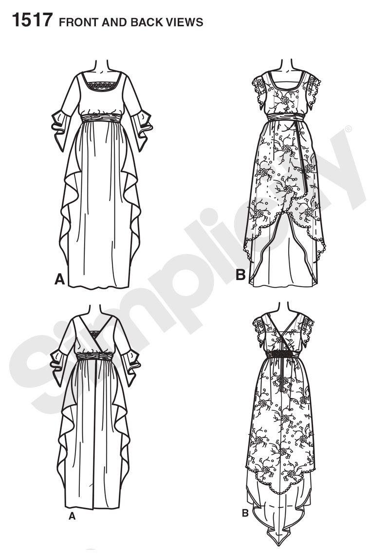 S1517 Misses\' Edwardian Style Dress www.sewingavenue.com | Costumes ...