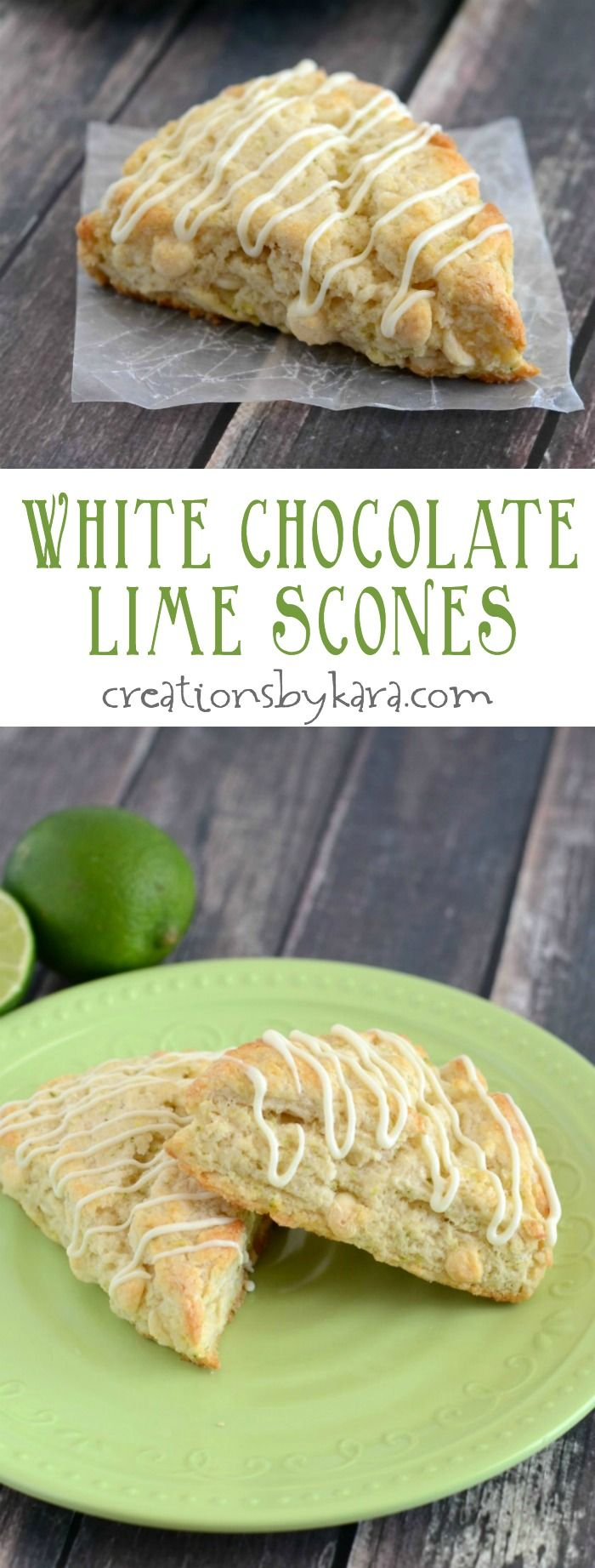 White Chocolate Lime Scones- soft, tender, and packed with citrus flavor, they are sure to become a favorite!