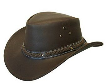 4d690ec00ee LEATHER DOWN UNDER HAT AUSSIE BUSH COWBOY STYLE Classic Western Outback  Brown Black at Amazon Men s Clothing store